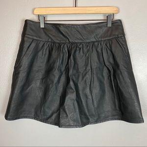 AEO black faux vegan leather skirt 14 a-line